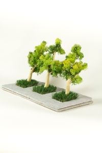 THREE TREES, Bram Verstraeten, clay, wood, artificial grass and moss.